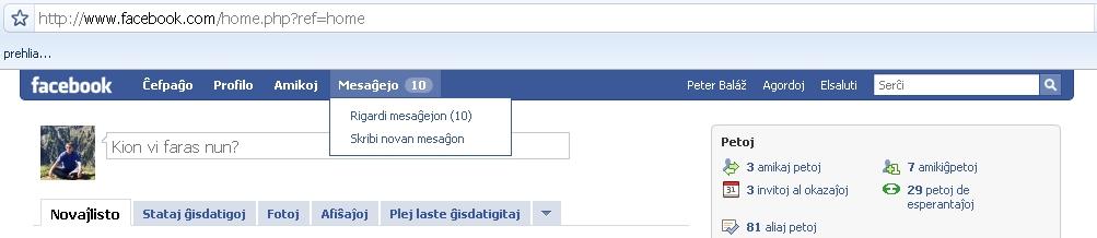 Facebook kun E-lingva interfaco
