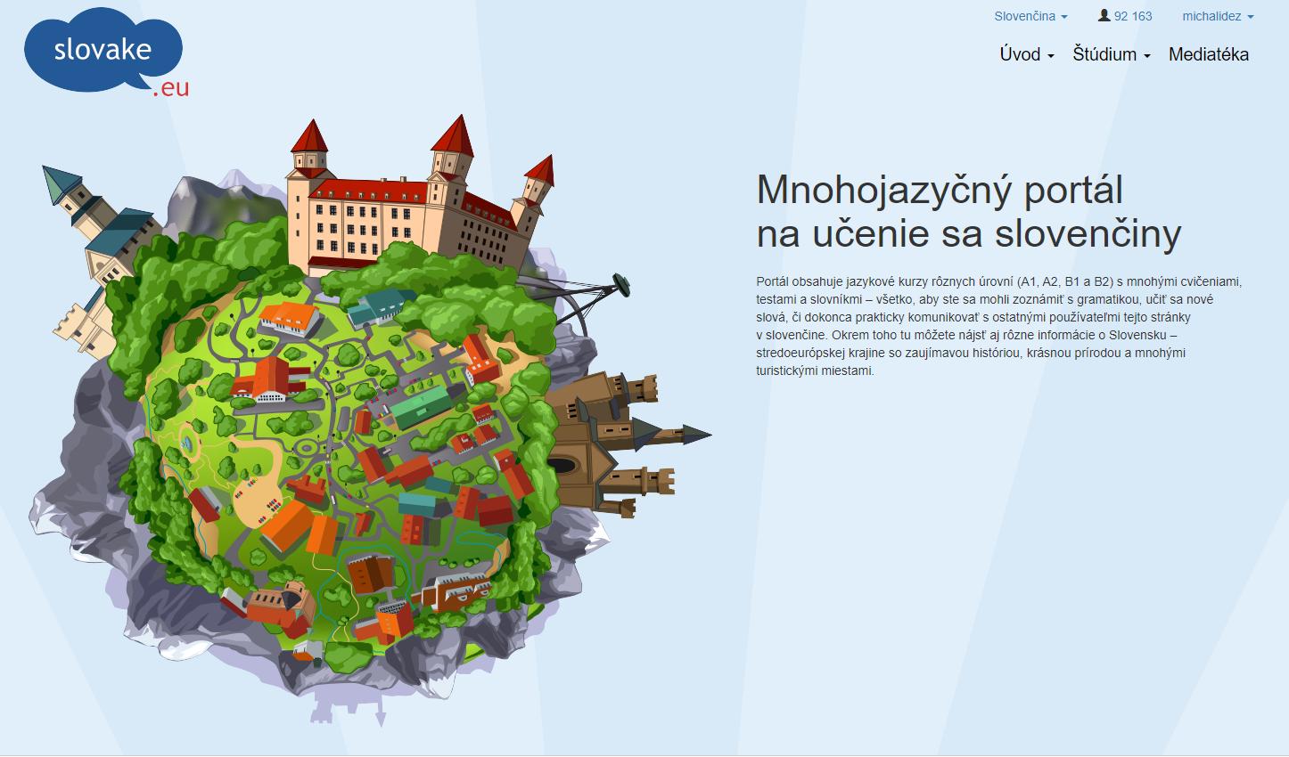 Úvodná stránka webu www.slovake.eu